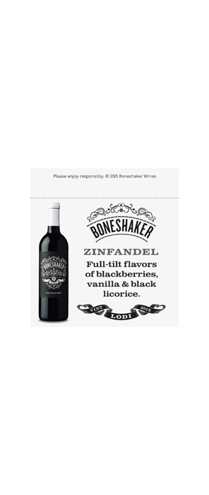 Boneshaker Zinfandel Shelf Talker
