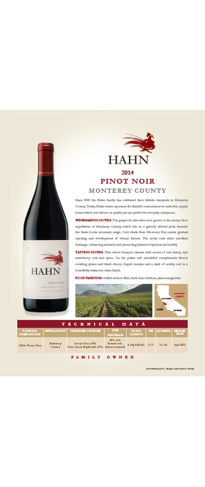 Hahn Pinot Noir Technical Note